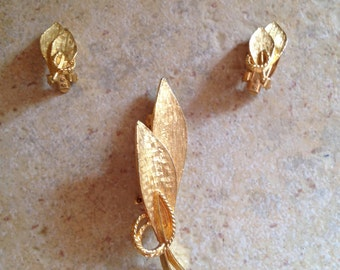 Gold Leaf Brooch and Earring Set
