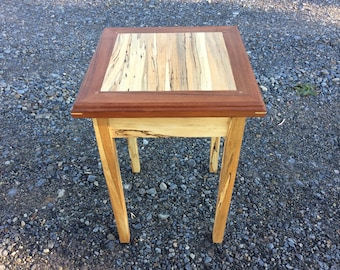 Spalted maple and walnut end table or night stand