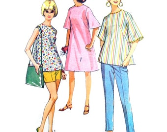 1966 McCall's 8260 Misses' Maternity Separates: Dress or Top in Two Versions, Pants or Shorts Sewing Pattern Size 14 Bust 34""