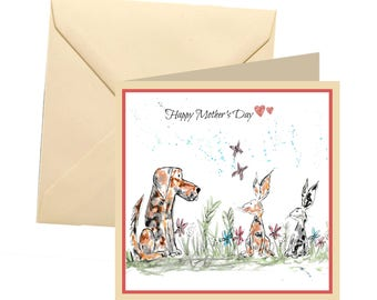 Animal Mothers day card, blank card, dog mothers day card, Mothers day card, Mothers day, dog, rabbit mum card