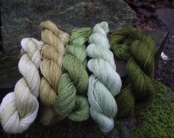 Gradient laceweight yarn kit, handpainted luxury wool mohair blend yarn kit kit-Green Man