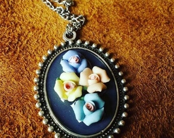 Four Flowers Clay Necklace