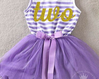 Second Birthday Dress/Purple and Gold / Gold Letter Two / Toddler Tutu Dress / 2nd Birthday Dress / Cake Smash Outfit