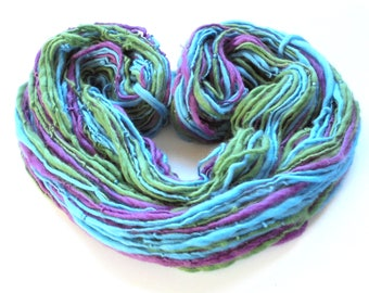 MUTED MARDI GRAS Beaded Handspun Yarn, Worsted-Weight Handspun, Beaded Yarn, Merino Yarn, Iridescent Beads, Knitting Yarn, Weaving Yarn