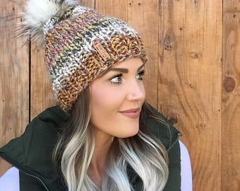 Wool Multi Color Faux Fur Pom Pom Knit Cap || Gold Mustard Green Blue Cream Hat Hair Earwarmer Accessory Fashion Chunky Brown Black Men Girl