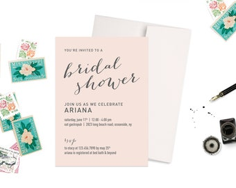 Blush Pink Bridal Shower Invitation
