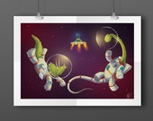 Space Dinosaurs A3 Illust...