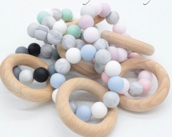 Baby Teether Teething Ring Silicone Teething Ring BPA Free Teething Toys Baby Shower Gift Wooden Beads