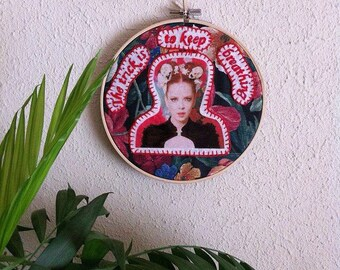 "Shirley Manson embroidery hoop art/Garbage band vocalist wall decor/""The trick is to keep breathing"" song stitching wall hanging"