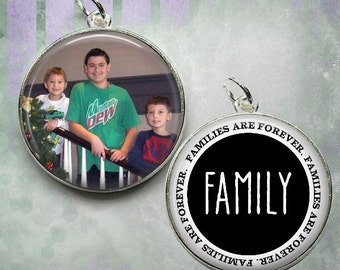 Personalized Pendant - Double Sided Custom Photo Pendant or Key Chain - Family