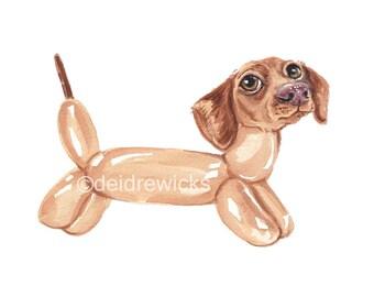 Dachshund Watercolor PRINT - Dog Painting, Balloon Animal, Nursery Art, Wiener Dog Illustration