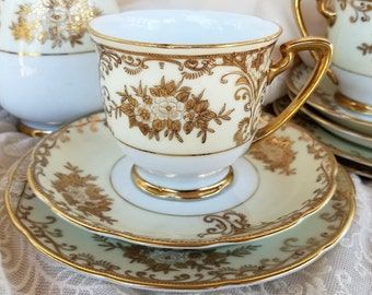 Vintage Meito China Trio Set, Foreign Pattern, Hand Painted China, Teacup Saucer and Small Plate, Discontinued, Gift for Her