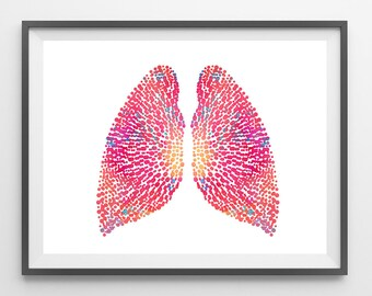 The Lungs watercolor print Lungs poster Lungs illustration human anatomy art lungs medical art anatomical lungs print human body art gift