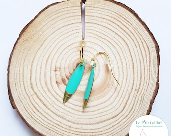 """""""Surfin' ' USA"""" watery green and gold earrings"""