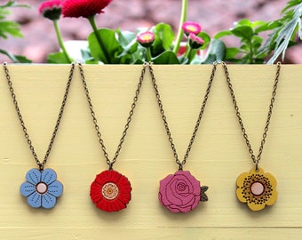 Flower necklaces ~ hand painted laser cut necklace