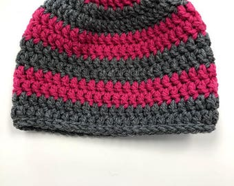 Adult Gray and Warm Pink Warm Crochet Hat -M