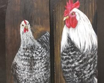 Rooster and Hen Pair, Original Art
