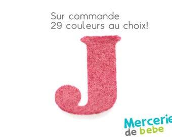 """Letter """"J"""" alphabet in felt - 29 color choices - 2.5 cm x 2.5 cm"""