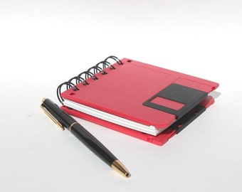 Floppy Disk Notebook Notepad - Geek Book - Recycled Computer Diskette - Red