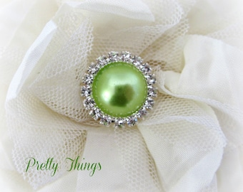 Lime Pearl and Rhinestone Buttons. QTY: 3 buttons