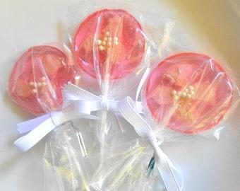 22 UNIQUE WEDDING FAVORS Light Pink, Organic Rose Petal Lollipops Flower Lollipops, Glitter Lollipop, Flower Lollipops