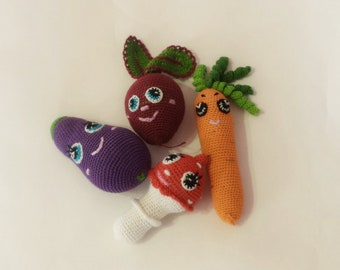knitted vegetables set of 4 pieces of carrots.eggplant.mushrooms /Crochet baby toy/toy vegetable / kitchen decoration/pretend play  food