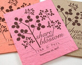 25 Plantable Seed Paper Favors, Share - Cherry Blossom - Wedding Take Homes - Wedding Shower - Birthday Favors - Personalized