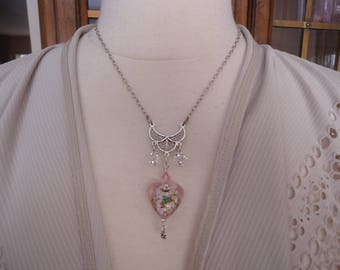 Sterling Silver and Swarovski Crystal Necklace w/ Lamp Work Glass Heart Pendant, Artisan Handmade