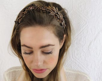Bronze Leaf headband Tiara Crown Headpiece with Vintage Bronze Leaves & Rhinestone Flowers PP16