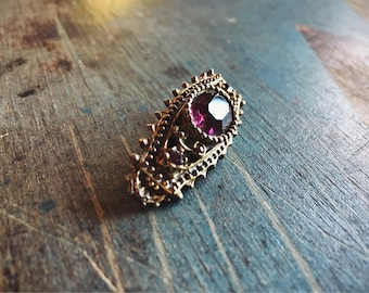 Vintage Brooch Pin Purple Rhinestone and Brass 1950s Jewelry Gift for Her