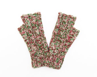 Peppermint Knit Fingerless Gloves, Hand Knit Wool Fingerless Gloves, Skinnies Style Knitwear, Fall and Winter Fashion