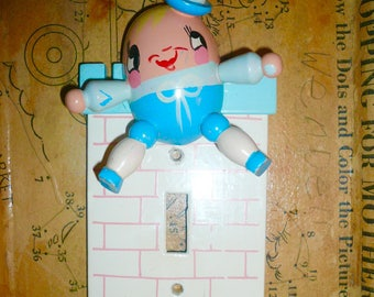 Humpty Dumpty Sat on a Wall Lightswitch Cover Nursery Decor by VintageReinvented