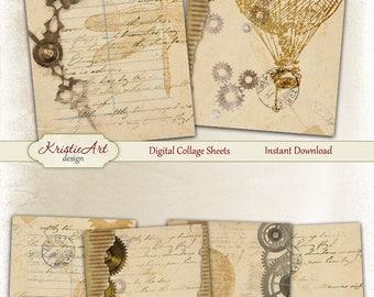 75% OFF SALE Vintage Script - Digital Collage Sheet Digital Cards C212 Printable Download Image Script Atc Vintage Cards Balloons ACEO