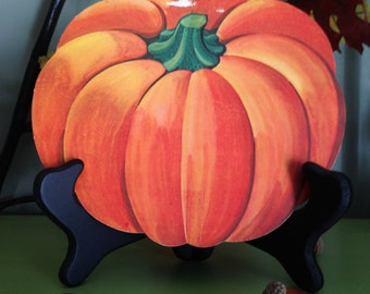Vintage Halloween Pumpkin Jack O Lantern Old Fall Autumn Thanksgiving Harvest 1950s Pumpkin Die Cut Collectible Decor Display