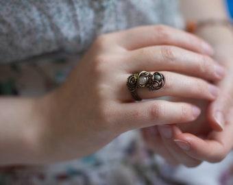 Citrine peridot tourmaline ring