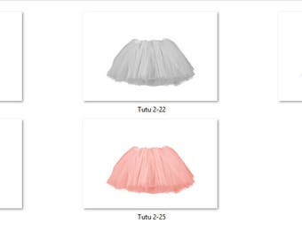 Tutu 2 Overlays Pack 5 Same Tutu 5 different colors Pastel Bright Photoshop PNG Translucent Background