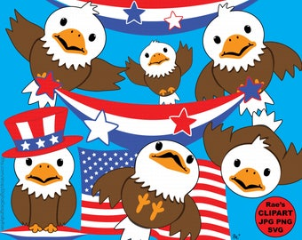 Baby Bald Eagles digital clipart set