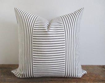 Pillow Cover Black White Woven Ticking Vertical & Horizontal Stripes Zipper