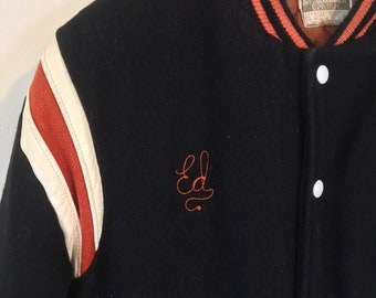 1970s Varsity Style Wool and Leather Jacket