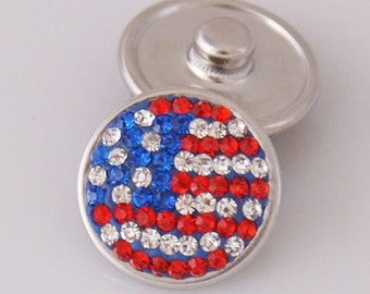 Flag CZ Red Clear Blue Stones  ~ Snap It  SKB2409-AA    Noosa Chunk Snap Popper Interchangeable 18mm 20mm snaps