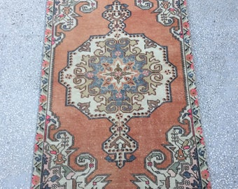"""Oushak Rug,Turkish Rug ,faded muted colored decorative Rug home of decor Rug,New fashion desing Size/124x210 / 4'1x6'11"""""""