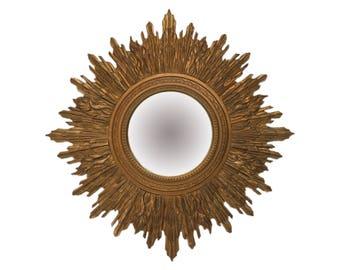 Large English Giltwood Sunburst Convex/ Bullseye Mirror