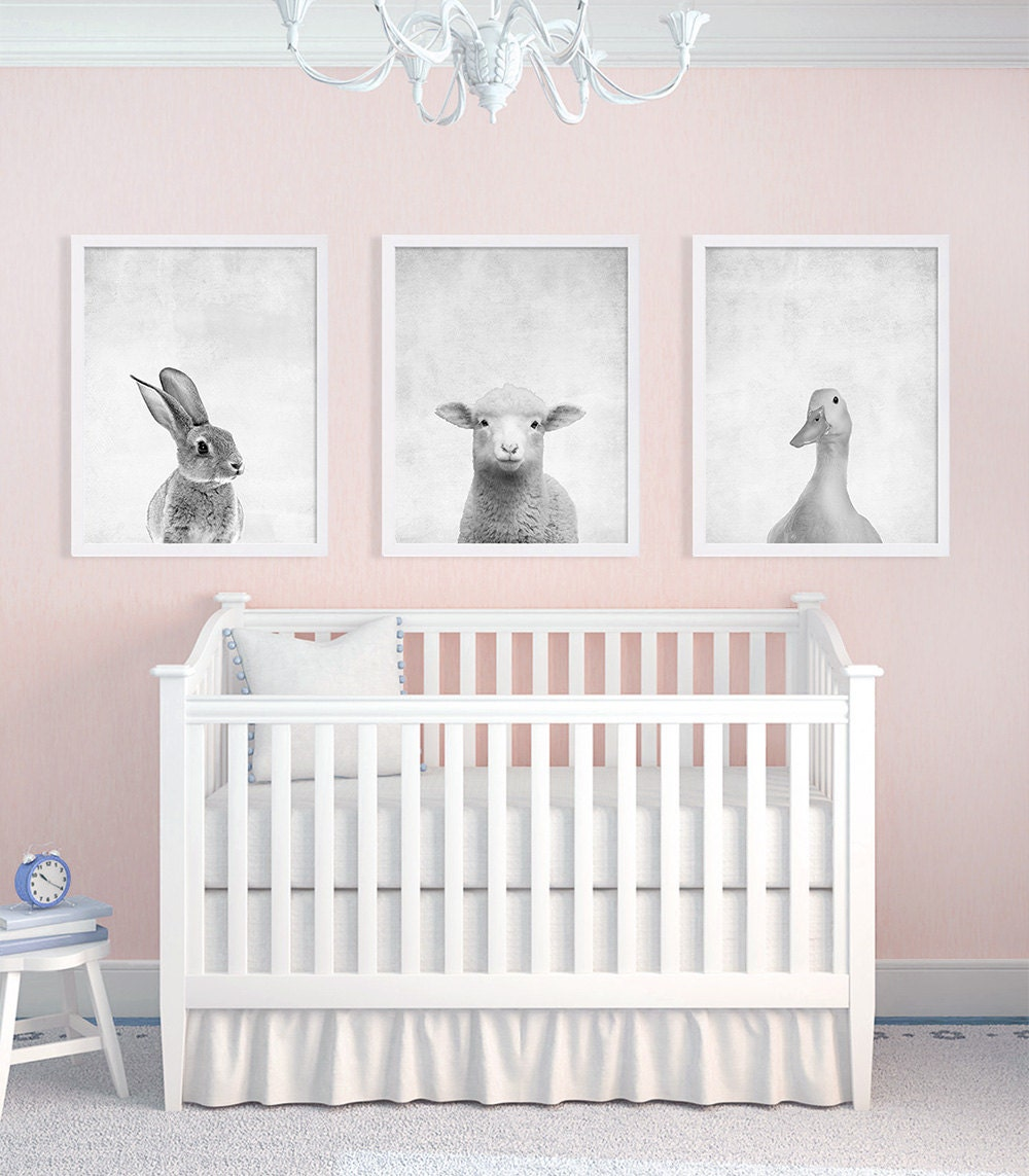 Set of Three Baby Animal Prints Nursery Art Prints Black and