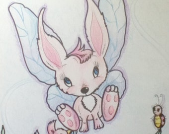 Art Print for Kids Rabbit Learning To Fly Birds Flowers