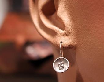Sterling Silver Seed Pod Dangle Earrings