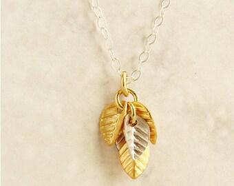Cluster leaf necklace, bridesmaids jewelry, leaf charm necklace, bridesmaid necklace, gold silver leaves charm necklace, everyday necklace