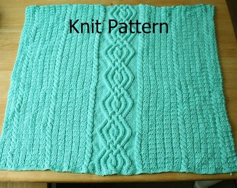 Cable knit baby blanket pattern - knit crib blanket pattern - knit blanket pattern - baby afghan