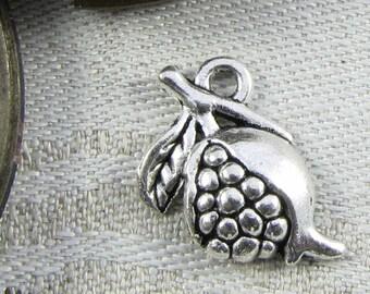 1 or 12, Pomegranate Charm, Pomegranate, Pomegranate Pendant, Pomegranate Jewelry, Fruit Charm, Silver Pomegranate, FOD006