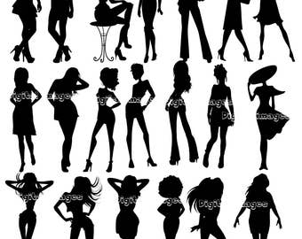 20 Women silhouettes Clipart. Model silhouettes.Beautiful women.Black silhouettes.Digital clipart.Digital images.Instant download
