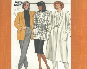 Butterick 4247 Misses Coat and Jacket Fast & Easy Pattern Size 14-16-18 ~ Complete